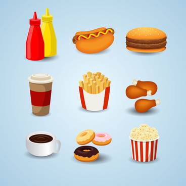 fast food design elements set