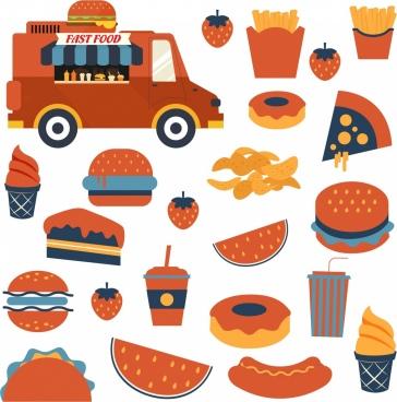 fast food design elements truck hamburger chips icons
