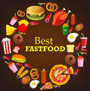 fast food design elements various food icons