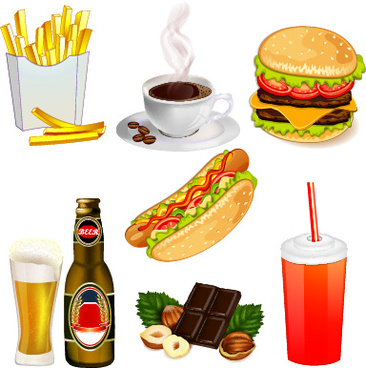 fast food elements icons vector set