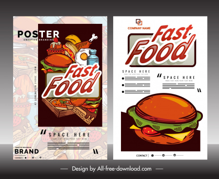 fast food flyer template classical colorful decor