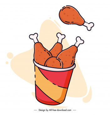fast food icon dynamic fried chicken sketch