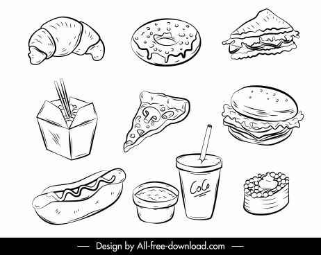 fast food icons black white handdrawn sketch