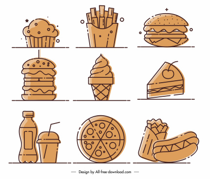 fast food icons classic flat handdrawn sketch