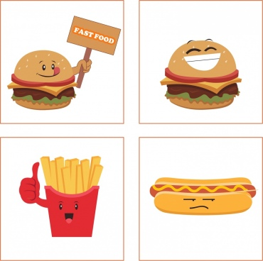 fast food icons collection funny emoticon isolation