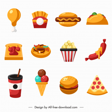 fast food icons colored flat sketch