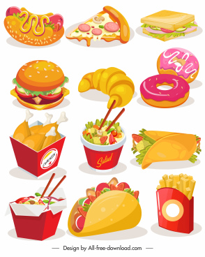 fast food icons colorful 3d sketch