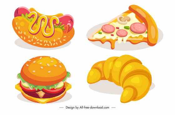 fast food icons colorful classic design