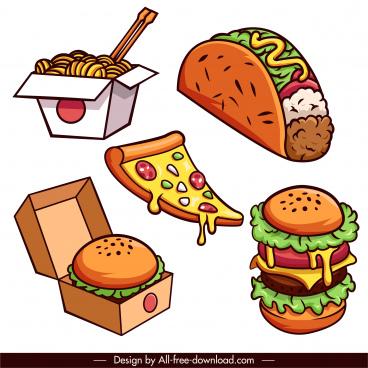 fast food icons handdrawn hamburger pizza noodle sketch