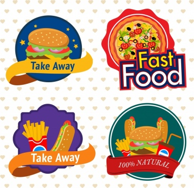 fast food labels collection 3d colored design