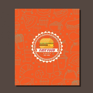 fast food leaflet cover design serrated circle logo