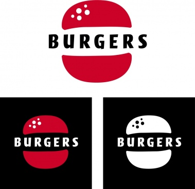 fast food logotype burgers icon isolation