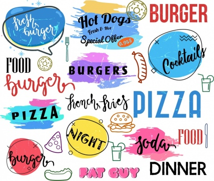 fast food logotypes colorful grunge handdrawn decor