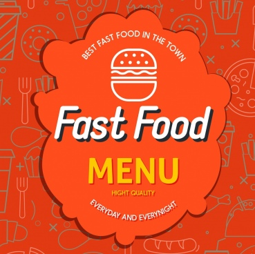 fast food menu cover red paper cut decor