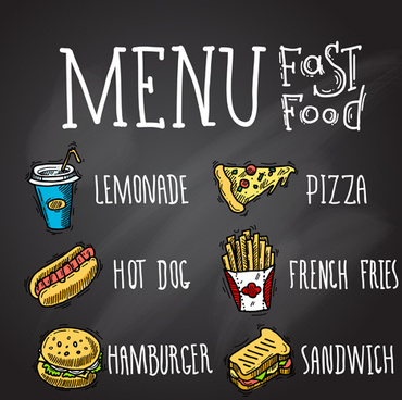 fast food menu hand drawn vector