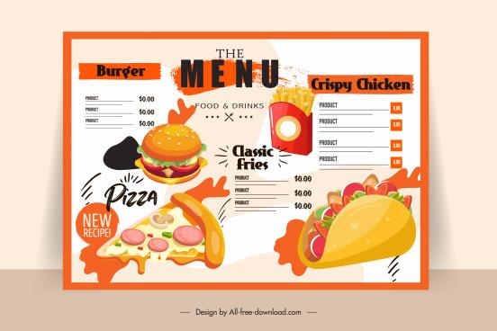 fast food menu template bright colorful classic decor