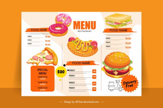 fast food menu template bright colorful decor