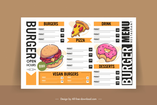 fast food menu template classical handdrawn sketch