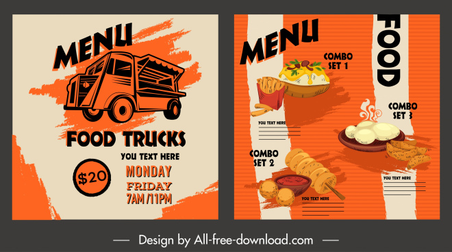 fast food menu template colored retro design