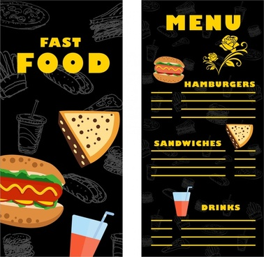 fast food menu template contrast design on dark