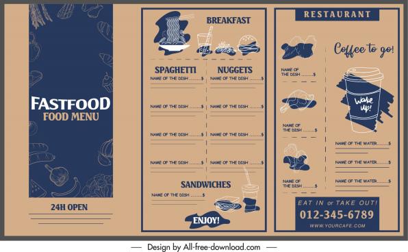 fast food menu template dark classic design