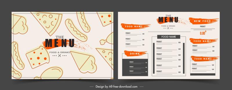fast food menu template flat handdrawn classic sketch