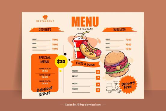 fast food menu template flat handdrawn retro design