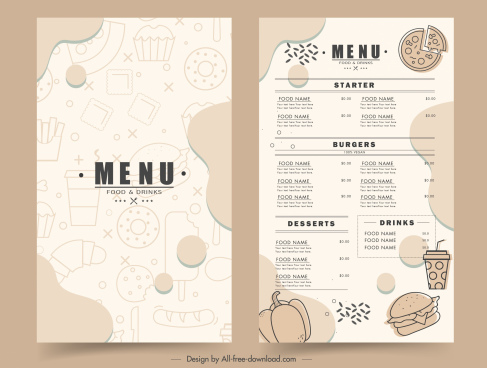 fast food menu template flat handdrawn sketch