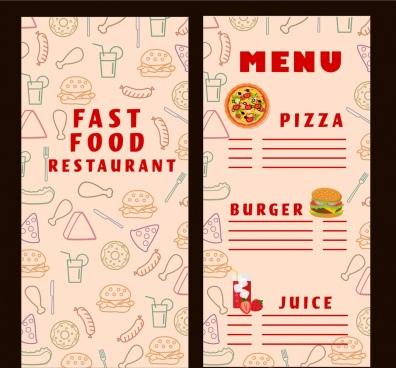 fast food menu template food icons vignette background