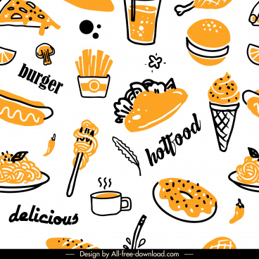 fast food pattern template retro handdrawn sketch