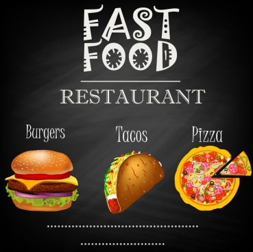 fast food restaurant advertisement dark design colored icons