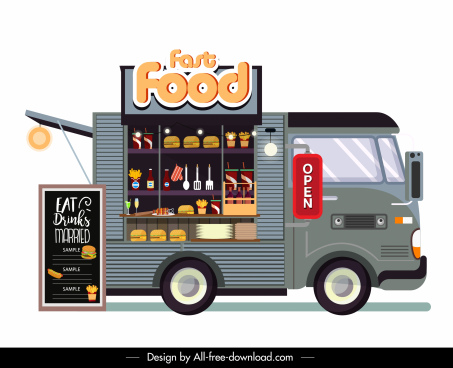 fast food truck icon convenient store colorful flat