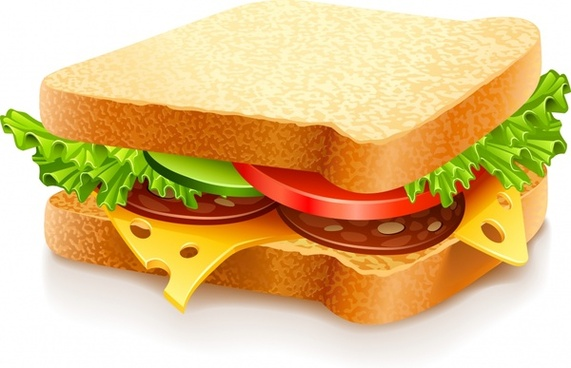 sandwich food icon colorful realistic 3d sketch