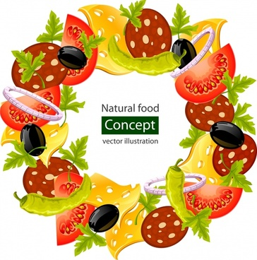 natural food background colorful vegetables cheese sketch