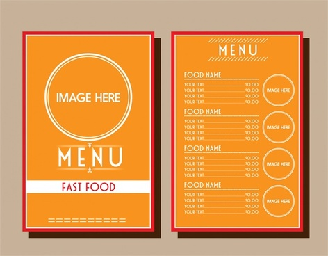 fastfood menu design circle decoration on orange background