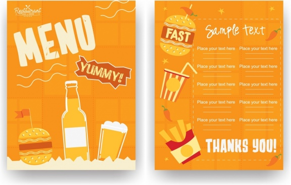 fastfood restaurant menu template classical orange design