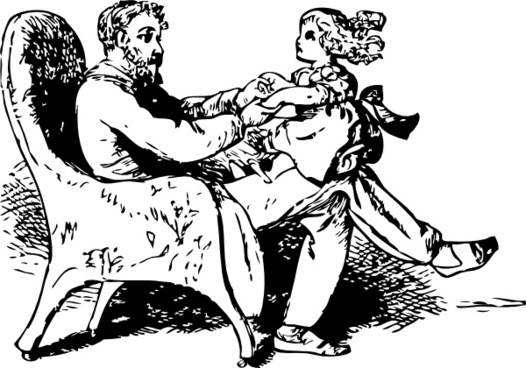Father And Daughter Playing clip art
