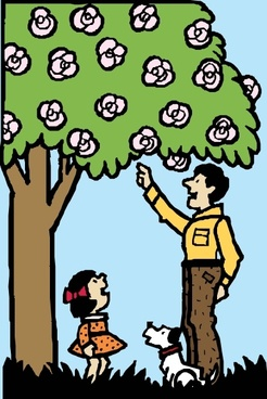 Father And Daughter Under Tree clip art