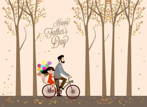 father day background autumn landscape daddy riding daughter