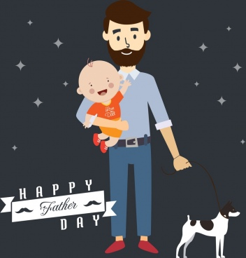 father day background happy dad and son icons