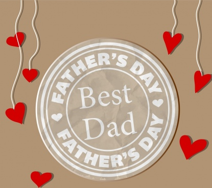 father day background seal style red hearts icons