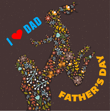 father day mothers day with abstract flowers decoration