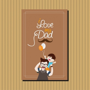 father day banner calligraphy daddy son icons decoration