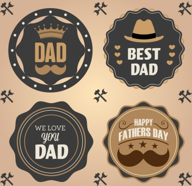 father day labels collection classical circle design