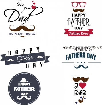 father day logotypes various colored symbols decoration