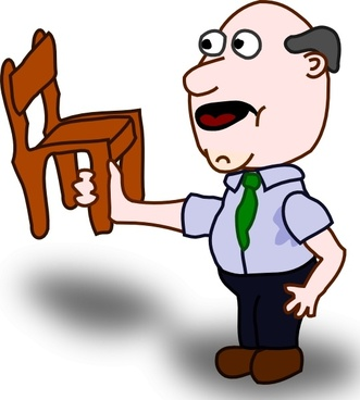 Fatman Holding A Chair clip art