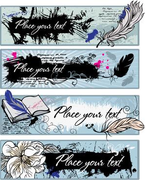 feather graffiti banner vector