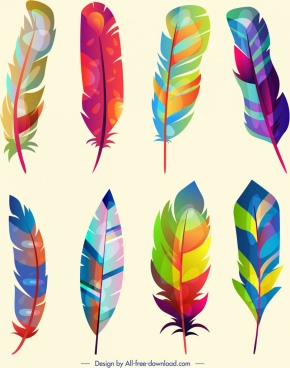 feather icons collection multicolored fluffy decor vertical design