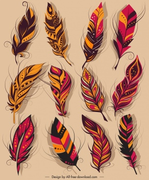 feather icons colorful classical softy sketch