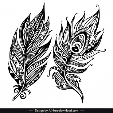 feather icons tribal decor black white classic handdrawn